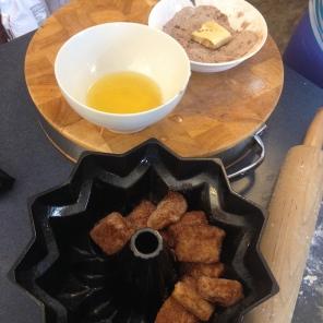 Plop pieces into bundt pan.