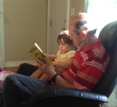 Reading a book with Grandpa!